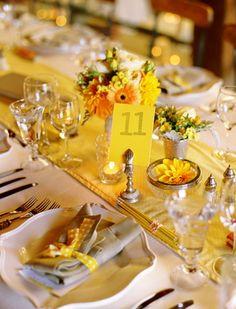 Table setting yellow inspired wedding