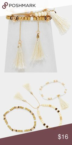 "Tassel Bracelet Set • Theme : Tassel  • Size : 0.75"" H, 1.75"" L • 3 Layers • Triple Layer Beaded Cinch Bracelet with Tassels Jewelry Bracelets"