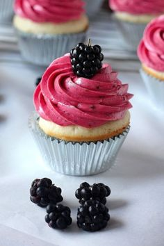 Lemon Cupcakes with Blackberry Buttercream - Baker by Nature