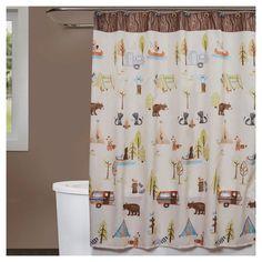 Saturday Knight Ltd. Camping Critters Fabric Shower Curtain Brown/White - Saturday Knight Ltd. Bathroom Kids, Kids Bath, Bathrooms, Green Apartment, Apartment Ideas, Shower Liner, Remodeled Campers, Fabric Shower Curtains, Decoration