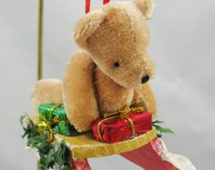 Sledding Teddy Bear Christmas Ornament 315
