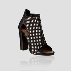 DKNY Runway Rissa Peep Toe Perforated Leather Bootie