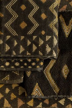 Kasai velvet ( Kuba cloth) is made in Africa, Congo,from the fiber of the raffia palm. It is woven by the man and decorated by the women. Beautiful geometric patterns with raised cut pile that looks like velvet.