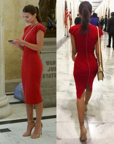 Luxe Look for Less | How to get model Emily Ratajkowski's bombshell red sheath dress for a steal | The Luxe Lookbook