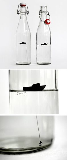 Love this silhouette idea on a glass bottle.