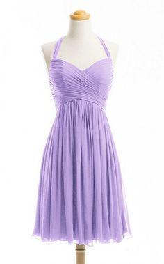 WeiYin Women's Halter Short Party Dress Bridesmaid Dresses Lavender US 14