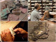 Leonardo cutting and fitting a stone
