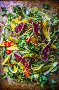 Seared Tuna Salad with Chili and Mango Cilantro Ginger Vinaigrette