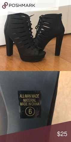 Black zip heels NEVER WORN! Black, 3 inch heels. Zips closed at the back. Shoes Heels