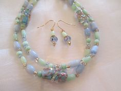 Lampwork Cats Eye Lovely Pastel Beaded Necklace Set by Makeovers4U