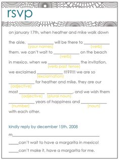 mad libs are awesome...had never thought to use them on an RSVP, but i love the idea!