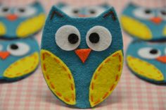 Set of 6pcs handmade felt owlvivid turquoise FT722 by AsecInc