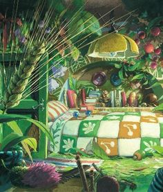 I adore Arrietty's quilt! The whole room would actually be a cute concept for a kid's room.
