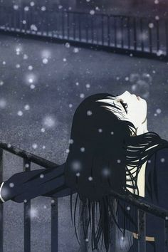 Jigoku Shoujo / Hell Girl. I just like this pic...the snow, her lips,.. ... black hair and pale skin. Just beautiful