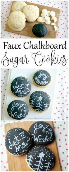 Make these faux chalkboard sugar cookies with fondant and food coloring! So much easier than it looks! Holiday Cookie Recipes, Holiday Cookies, Holiday Baking, Christmas Baking, Holiday Desserts, Holiday Treats, Christmas Kitchen, Cookie Ideas, Holiday Decorations