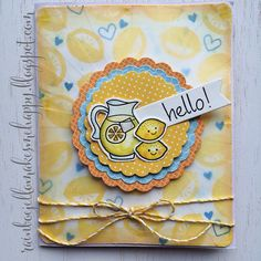 """Lawn Fawn - Make Lemonade, Summertime Charm, So Much to Say, Scalloped Circle Stackables Lawn Cuts dies, Lemon Lawn Trimmings _ Fabulous """"hello lemons!"""" card by Lexa via Flickr - Photo Sharing!"""