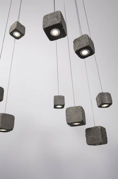 Concrete cube pendant lights. #concrete #lights #pendantlights