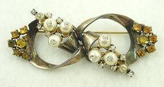 Ciner Sterling Vermeil Bow Brooch - Garden Party Collection Vintage Jewelry