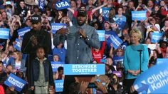 LeBron James joins Hillary Clinton on stage at Cleveland rally