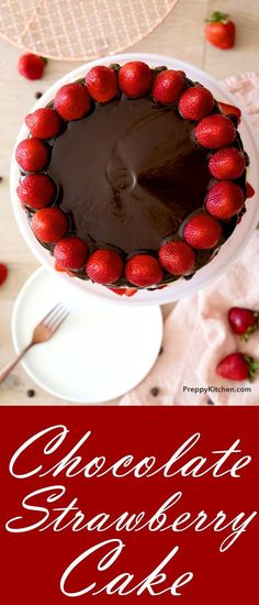 The most tender chocolate cake imaginable with fresh strawberries and a light vanilla mascarpone buttercream.