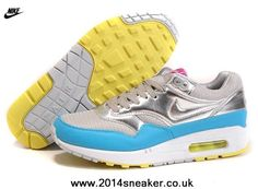 2014 Mens Nike Air Max 1 87 Running Shoes Silver Blue Free Running Shoes