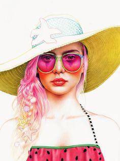 Colored Pencil Season Girls  by Morgan Davidson, via Behance