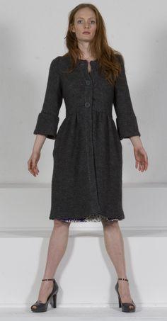 Charcoal wool-knit coat-dress-sweater*kaj.ani (by special order via: kajanistudio.com)