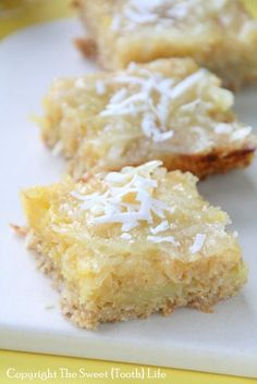 Gluten-free Dairy-free Coconut Lemon Bars Like The Desserts Miss The Rain Gluten Free Deserts, Gluten Free Sweets, Foods With Gluten, Gluten Free Baking, Dairy Free Recipes, Gluten Free Coconut Cake, Lemon Coconut Bars, Coconut Recipes, Lemon Recipes