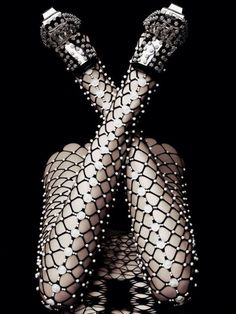 Alexander Mcqueen + fishnet tights on a whole other level + embellished tights Fashion Week, Fashion Art, High Fashion, Womens Fashion, Fashion Design, Fashion Tights, Fashion Lingerie, Ellen Von Unwerth, Alexander Mcqueen