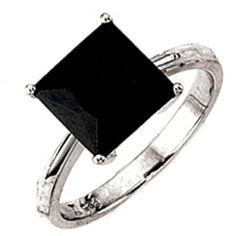 Damenring, 925/- Sterlingsilber, rhodiniert,1 Zirkonia schwarz (ca. 3,0 g) (nur Weite 50 - 64), Höhe ca. 9,6 mm, Breite ca. 9,6 mm, Tiefe ca. 6,2 mm $23.85