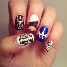 Inspiration by Kristin Day. I love 80s Hip Hop. So Here is some fun silly nails to pay homage to this era. Complete with a flat-top @bloomdotcom