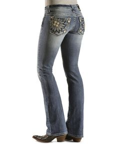 Miss Me Embroidered Sunflower Pocket Boot Cut Jeans - 33 1/2