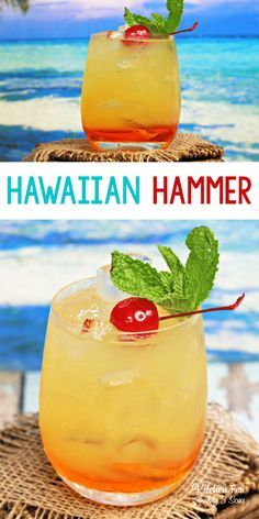 Hammer drink is a yummy summer cocktail full of tropic flavors. Hawaiian Hammer drink is a yummy summer cocktail full of tropic flavors. Hawaiian Hammer drink is a yummy summer cocktail full of tropic flavors. Easy Alcoholic Drinks, Alcholic Drinks, Liquor Drinks, Cocktail Drinks, Beverages, Cocktail Shaker, Bourbon Drinks, Easy Rum Drinks, Drinks With Malibu Rum