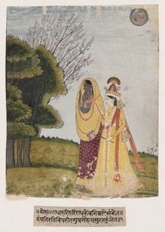 """Lila Hava Krishna and Radha Exchange Clothes; """"He maketh Himself as we are, that we may be as he is."""" 1825 Pahari school by Nainsukh family. Kangra or Garhwal, Punjab, india"""