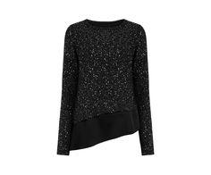 Oasis, Asymmetric Sequin Sweater Black
