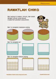 belajar anak SD, matematika, pecahan dasar, gambar anjing