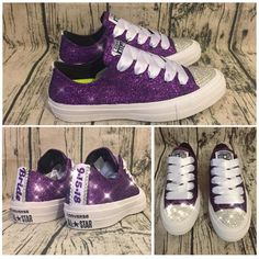 wedding shoes Womens Sparkly Glitter converse all star Crystals royal Purple plum regency shoes prom cheerleader sneakers wedding bride bridal tennis shoes Bride Converse, Converse Wedding Shoes, Wedding Sneakers, Prom Shoes, Disney Converse, Wedding Tennis Shoes, Sparkly Wedding Shoes, Wedding Shoes Bride, Shoes