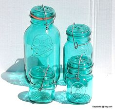4 Green Vintage Ball Ideal Jars with Wire Closure by kayskrafts