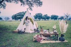 ·Apache Bride· STYLED SHOOT  Dress Yolan Cris Stylism | @dorothysblog More Than Events,  Photography | Natalia Ibarra  Make up and hair |  Nieves Timor Shoes and Coats | Zahir Madrid Headdresses | @cucullia, @Mimoki,  Location | Finca el Campillo  #WeddingDecor | More Than Events  Wooden features | Wood and light  Tipi | Tipi Land Factory #WeddingFlorals | @floresenelcolum #Crockery | @azarraluqui  #Weddingcakes | @thesweetestlab   #weddinginspiration #weddingideas #countrysideweddings #tipi