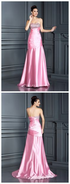 #dylanqueen Charming strapless &pink long evening dress for party