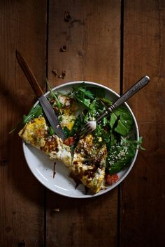 Easy Omelette + Green Salad + Balsamico + Seeds
