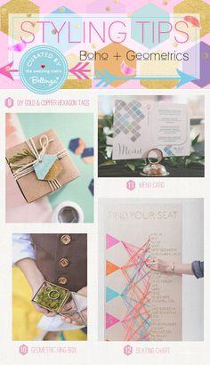 Creative Tips for Decorating a Chic Boho and Geometrics Wedding | Featured on the Wedding Bistro at Bellenza. #bohoweddings #bohemianweddings #geometricsweddings