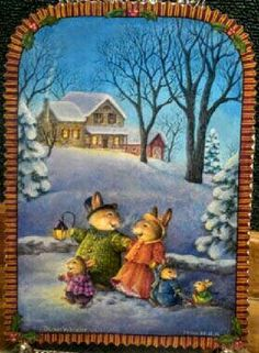 Ideas vintage house illustration susan wheeler for 2019 Susan Wheeler, Beatrix Potter, Christmas Pictures, Christmas Art, Photo Images, House Illustration, Bunny Art, Peter Rabbit, Woodland Creatures
