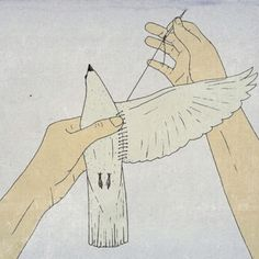 More Selfless Compassion, Please. Illustration, human hands repairing a birds wing.