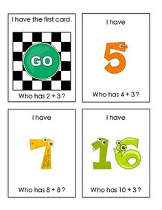 "Fun and engaging review of early facts:  Sample student cards from ""I Have-Who Has: Sums to Twenty""  $"