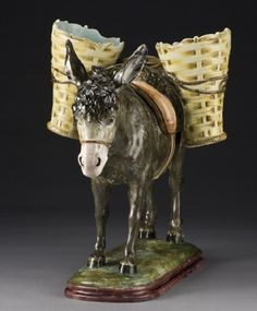 Massier majolica donkey vase