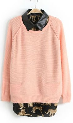 Two piece round collar long sleeve leopard knitting sweater pink wow...very nice