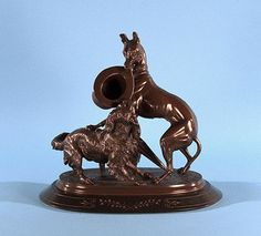 Pierre Jules Mene - Greyhound with Hat and Spaniel. Signed: PJ MENE Bronze, 9 x 10 1/8 x 6 inches