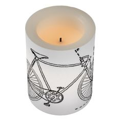 Bicycle Blueprint Flameless Candle