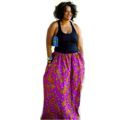 Purple Maxi Skirt African Ankara Print Wide Band by ZabbaDesigns ~Latest African Fashion, African women dresses, African Prints, African clothing jackets, skirts, short dresses, African men's fashion, children's fashion, African bags, African shoes ~DKK